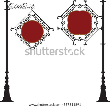 Wrought Iron Signage Raster Illustration