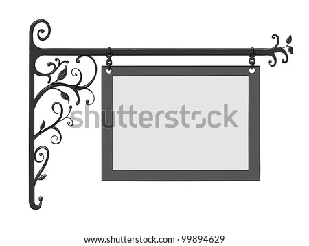 Wrought iron signs for old-fashioned design isolated on white - stock photo