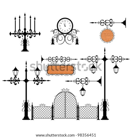 Wrought iron vintage signs and decor elements - stock photo
