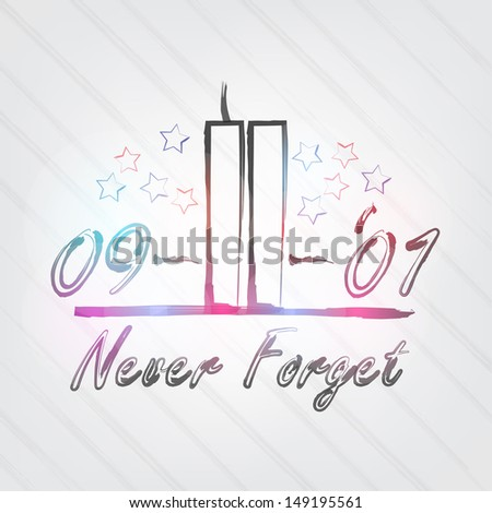 WTC Typography - background in retro style with towers and label. (Raster) - stock photo