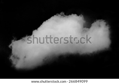 Wtite cloud in black sky, isolated element