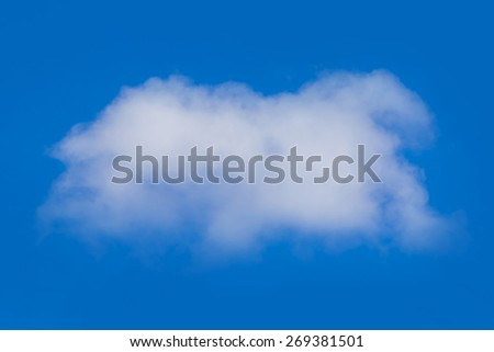 Wtite cloud in blue sky, isolated