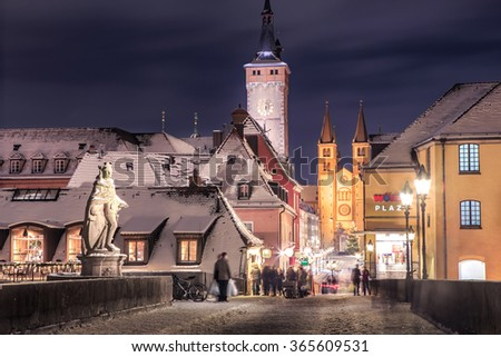 WUERZBURG, BAVARIA, GERMANY - Circa December 2014: Street of Wuerzburg town at night - stock photo