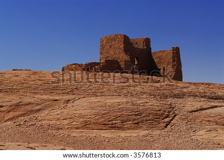 Wukoki Indian pueblo ruins at Wupatki National Monument - stock photo