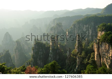 Wulingyuan - Zhangjiajie National Forest Park in Hunan Province, China. Unique mountain landscape with quartzite peaks and subtropical forest.Elected in world geological parks in 2004 by Unesco. - stock photo