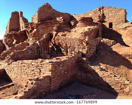 Wupatki ruins in Wupatki National Monument in Arizona - stock photo