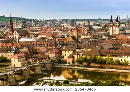 Wurzburg, Bavaria, Bayern, Germany city of Wurzburg (Wuerzburg, Würzburg) with the river main - stock photo
