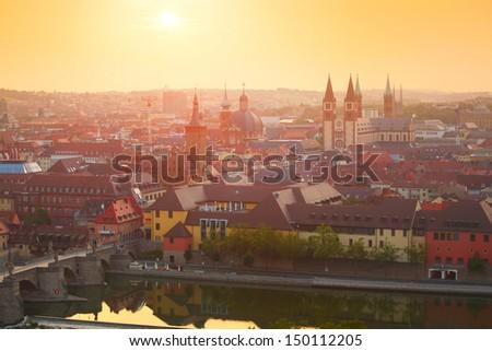 Wurzburg town at sunrise. Germany - stock photo