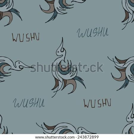 wushu crane pattern - stock photo