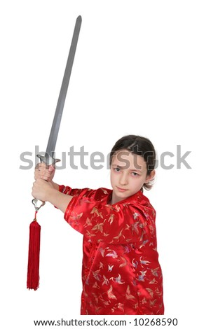 Wushu girl with sword