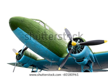 WW2 aircraft isolated on white - stock photo