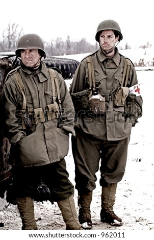 WW2 american soldiers (grainy and sepia tone) - stock photo
