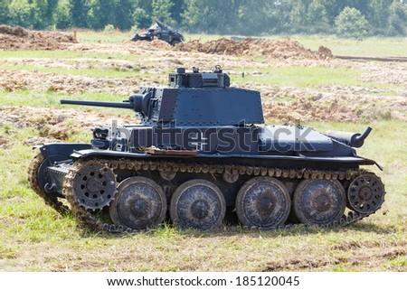 WW2 German light tank Panzer 38 (t) at the summer - stock photo