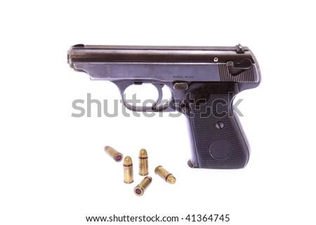 WW II 7.65mm Pistol and Ammunition Isolation on White - stock photo
