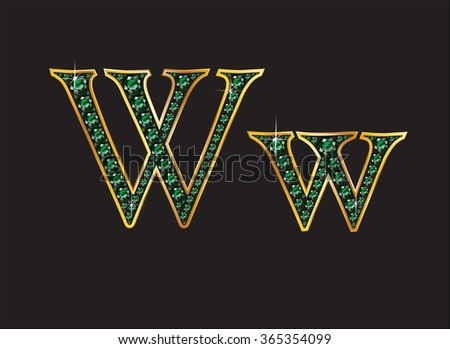 Ww in stunning emerald precious round jewels set into a 2-level gold grxadient channel setting, isolated on black. High-resolution raster JPEG version.  - stock photo