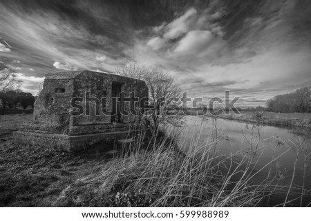 WW2 pillbox on the river thames, near Lechlade. Photo taken 13th March 2017 near st. Johns lock at Lechlade. The pillbox's where built during the second world war as defence should the germans invade.