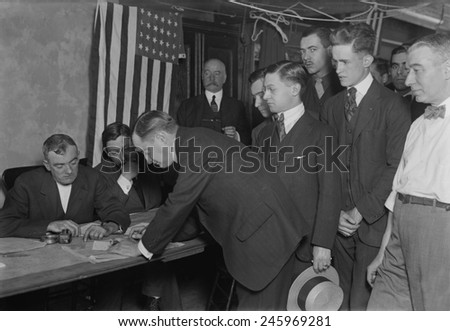 WWI. American men register for the military draft in New York City. 1917.
