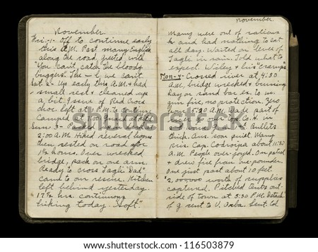 WWI American Soldier's Diary Pages - stock photo