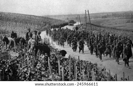 WWI. Civilians working in a vineyard of the Champaign region of France as troops march past. Possibly during the Battle of the Marne. Ca. September 6-12, 1914. - stock photo