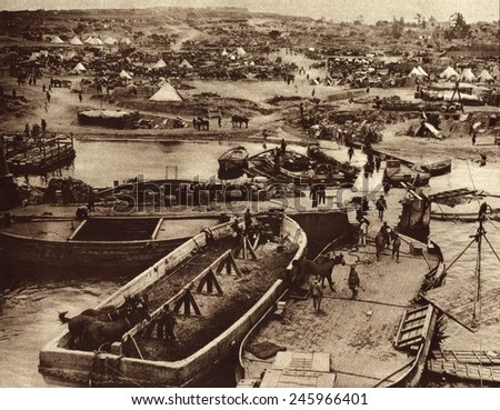 WWI. Supply ships unloading horses and other supplies after the hard fought British landing on the southern tip of the Gallipoli Peninsula during the Dardanelles campaign. 1915.