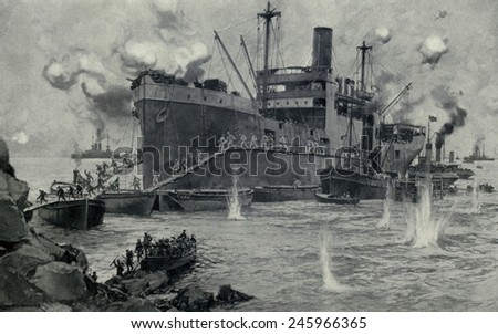 WWI. The costly British invasion from the 'River Clyde' at Seddul Bahr, Gallipoli. 2,000 invasion soldiers attempted to land under the machine gun fire of Turkish defenders on April 25, 1915. - stock photo