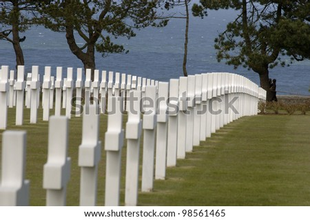 WWII Cemetery in Normandy - stock photo