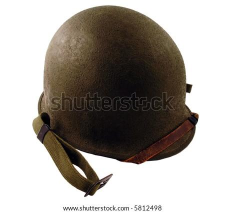 WWII Era Helmet isolated on white - stock photo