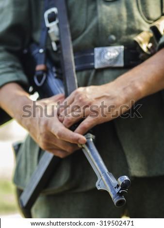 WWII German gendarme - stock photo
