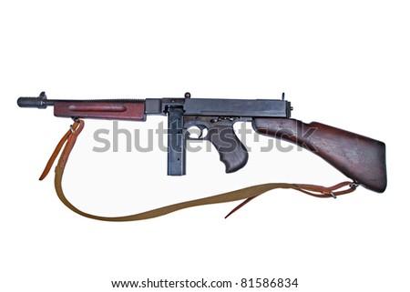 WWII period gun isolated on white background - stock photo