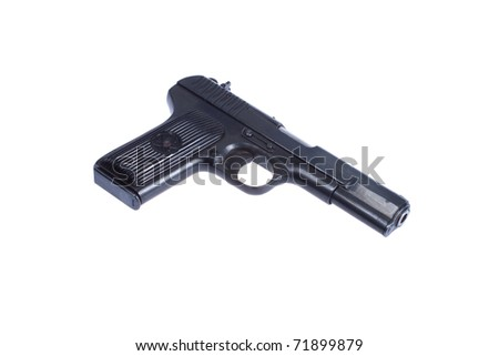 WWII Soviet handgun TT (Tula,Tokarev) isolated on white background - stock photo