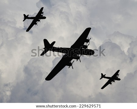 WWII US Bomber fleet silhouette of the Pacific - Artist Impression. - stock photo