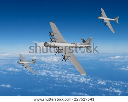 WWII US Bomber formation of the Pacific - Artist Impression.