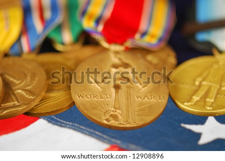 WWII veteran's medals and ribbons - stock photo