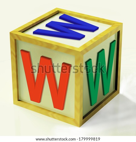 WWW Block Showing Internet Online And Webpage - stock photo
