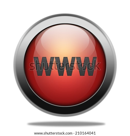 www circular red button on white background - stock photo