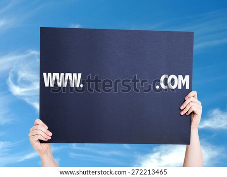 www. .com with a copy space card with sky background - stock photo
