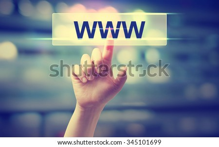 WWW concept with hand pressing a button on blurred abstract background - stock photo