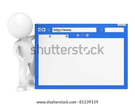 WWW. 3D Little Human Character holding a Browser Window - stock photo