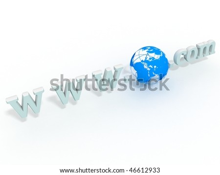 www 3d symbol and 3d earth - stock photo