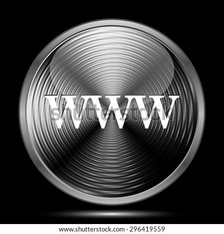 WWW icon. Internet button on black background.  - stock photo