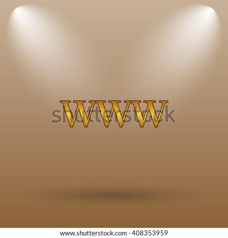 WWW icon. Internet button on brown background. - stock photo