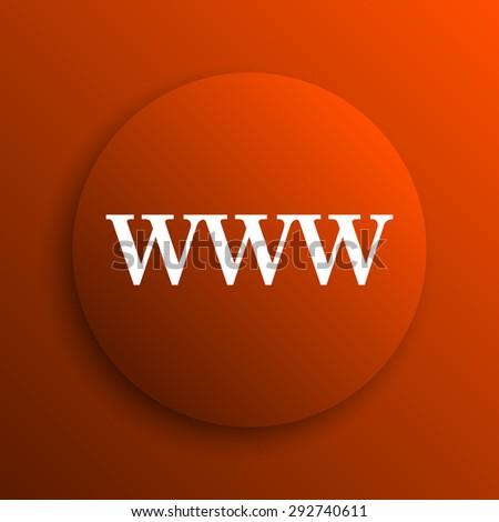 WWW icon. Internet button on orange background  - stock photo
