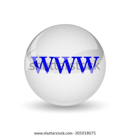 WWW icon. Internet button on white background. - stock photo