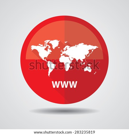 Www icon, Internet sign icon. World wide web red symbol, Business and social media networking service concept on a white background. - stock photo