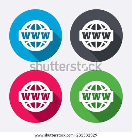 WWW sign icon. World wide web symbol. Globe. Circle buttons with long shadow. 4 icons set. - stock photo