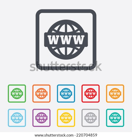 WWW sign icon. World wide web symbol. Globe. Round squares buttons with frame. - stock photo