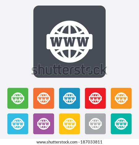 WWW sign icon. World wide web symbol. Globe. Rounded squares 11 buttons. - stock photo