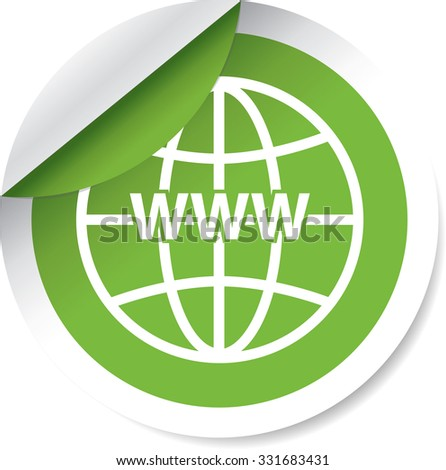 WWW sign icon. World wide web symbol modern green label and sticker on a white background.