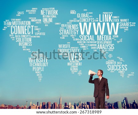 WWW Social Media Internet Connection Global Networking Concept - stock photo