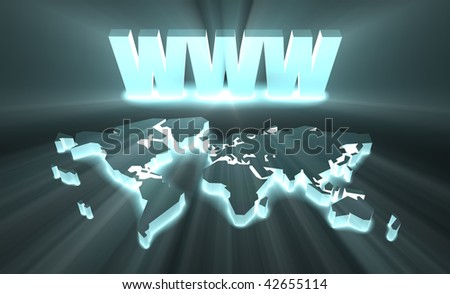 WWW World Wide Web Internet Online in 3d - stock photo